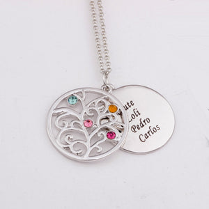 Our Family Names Family Tree Ornamental Birthstone Necklace With Beautiful Engravings