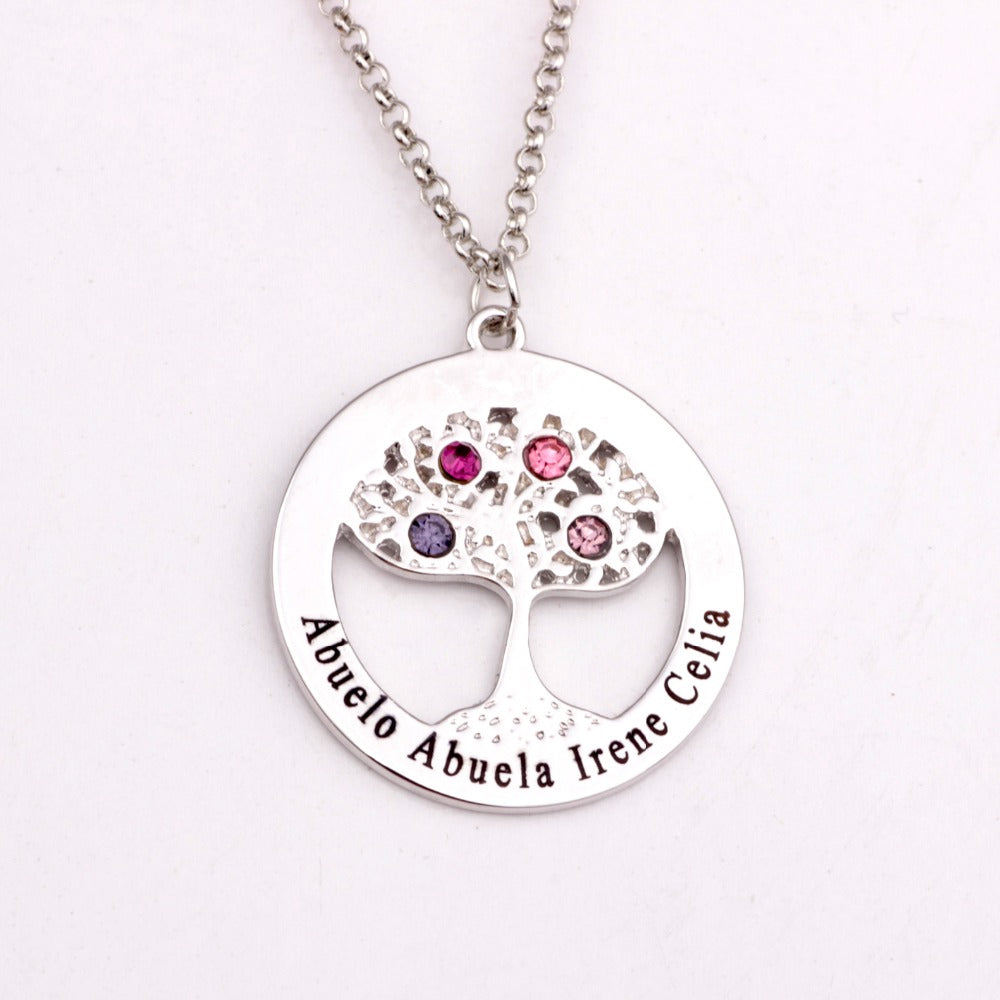 Elegant Tree of Life Pendant Necklace Personalized Family Names Hand Stamped with Birthstone For mom