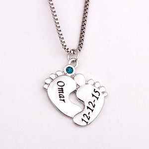 Mommy Personalized Engraving Baby Feet Initial Chain Necklace With Birthstone Twins ,New Mom Gift