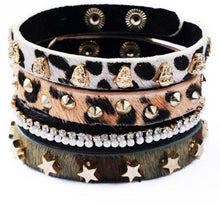 4Pcs splendid Leopard Animal Print Leather Punk Wristband Rhinestone Rivets Cuff Bracelet for women