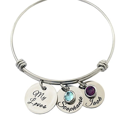 Mother's Day Personalized Drop Bangle Bracelet, with Kids Birthstones Gift Idea