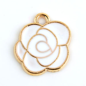 White Pink Black Enamel Rose Charm Pendants | 10 pcs.