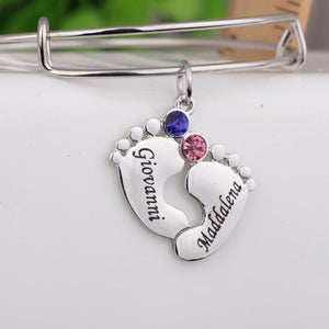 Baby Feet Customized Name Bangle Bracelet with Birthstones New Mom Gift