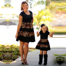 Mother Daughter Matching Black Leopard Striped Mommy and Me Dresses