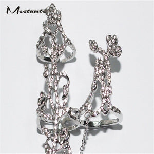 Charming Double long Sparkling Chain Linked Knuckle  Two Fingers Ring