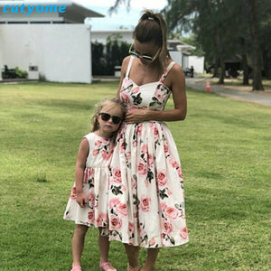 Mother Daughter Floral Printed Mommy and Me Summer Sleeveless Matching Maxi Dress