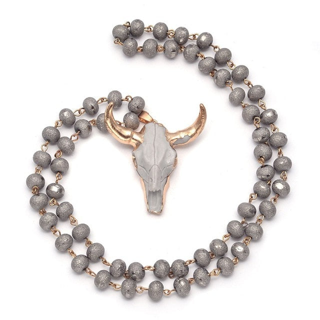 Charming Cow Skull Long Beaded Necklace Boho Style jewelry for women