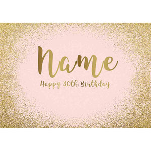 Personalized Name Golden Sand Sparkling BackDrop Birthday Photography Background