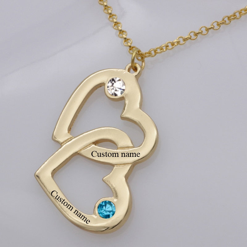Romantic Personalized Intertwined Hearts Names with Birthstones Pendant