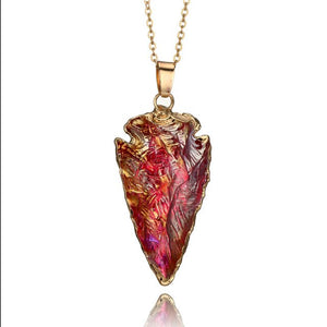 Unique Arrowhead Shining Gold Quartz Crystal Pendant Necklace Women