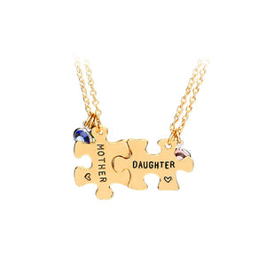 Engraved Set of 2 Matching Puzzle Mother Daughter Birthstone Necklace