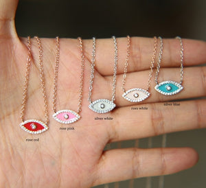 Charming Colorful Enamel Evil Eye Cz Protection Lucky Necklace