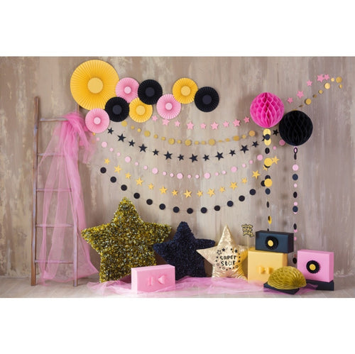 Colorful Certain Handmade Ladder Star Photography Backdrop Birthday Party Decoration
