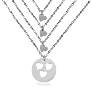Adorable Mother Daughter Matching Heart Cutout Necklace Set Mother of two three Pendants , Mom Gift