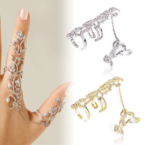 Floral Leaves Delicate Triplet Long Double Full Finger Linked Charm Bridal Statement Ring