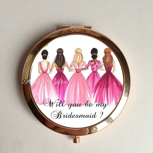 1pcs lot Timeless Personalized  Bridal Party Pocket Compact Mirror Bridesmaid Gift