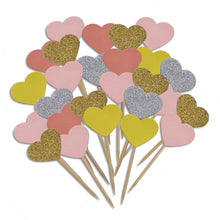 20 PCS/Lot Shimmering Handmade Glitter Heart Cake Topper Birthday Party Wedding Cake Decorations