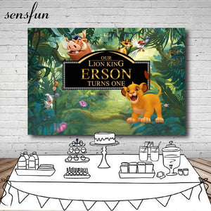Forest Cartoon Lion King Backdrop Boys 1st Birthday Party Backgrounds For Photo Studio Customized