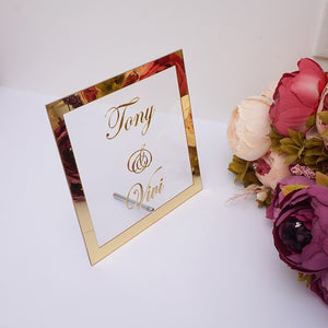 Customized Bride & Groom Mirrored Gold Framed Place Setting Wedding Decoration