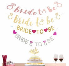 BRIDE TO BE Script Gold or Rose Gold Banner with Metallic Bakers Twine Bridal Shower Decor