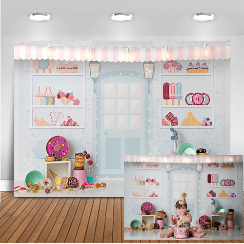 Sweet Candy Bar Shop Backdrop Birthday , Baby Shower , Kids Party Candy Theme Photography Decoration