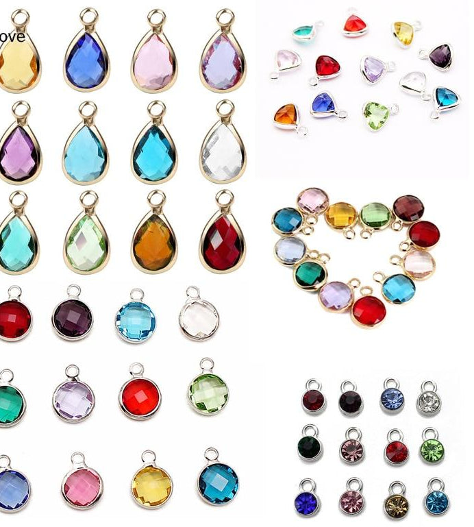 Birthstone Stainless Steel Birthstone Crystal Charms
