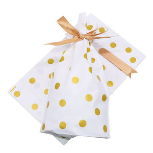 5Pcs Stylish Gold Dot Polka Candy Bag With Satin Ribbon, Party Supplies