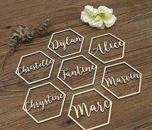 Customized Wooden Hexagon Shape Name Place Settings Laser Cut Table Sign Wedding Decoration