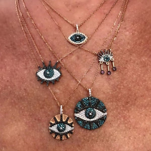 Fashionable Green Rose Gold CZ Evil Eye Necklace