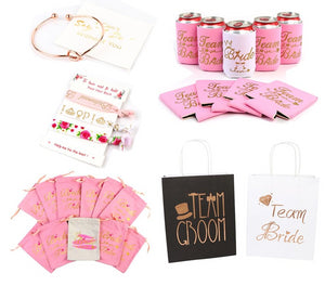 Bridesmaid Gift Set Knot Bracelet, Hair Tie ,Eye Mask, Can Cooler, Hangover Bags, Bridal Paper Bags