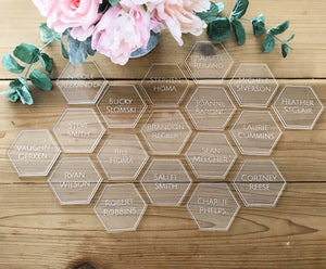 Personalized Clear Acrylic Hexagon Geometric Mirrored Laser Cut Plate Guest Names Signs