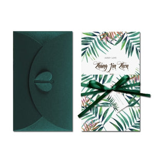 20 Pcs Tropical Palm Leaves Green Wedding Invitation Cards With Envelope