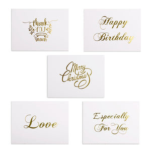 48pcs Mini Gold Foil Greeting Thank you Card Happy Birthday Party