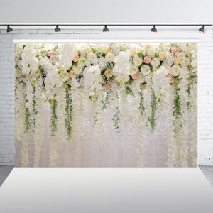 Beautiful White Flowers Wedding Engagement Backdrop Photography Background