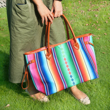 Aztec Serape Rainbow Over Shoulder Tote  Women's Hand Bag Lovely Brightful Colors