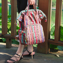 Chic Serape & Leopard Rainbow Pattern Backpack Diaper , Travelling Bag