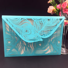 Luxury Peacock Feather Laser Cut Invitation Cards for Wedding