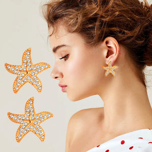Sweet Dancing Starfish Shape Stud Earring Dainty Studs Nautical Beach Wedding Jewelry