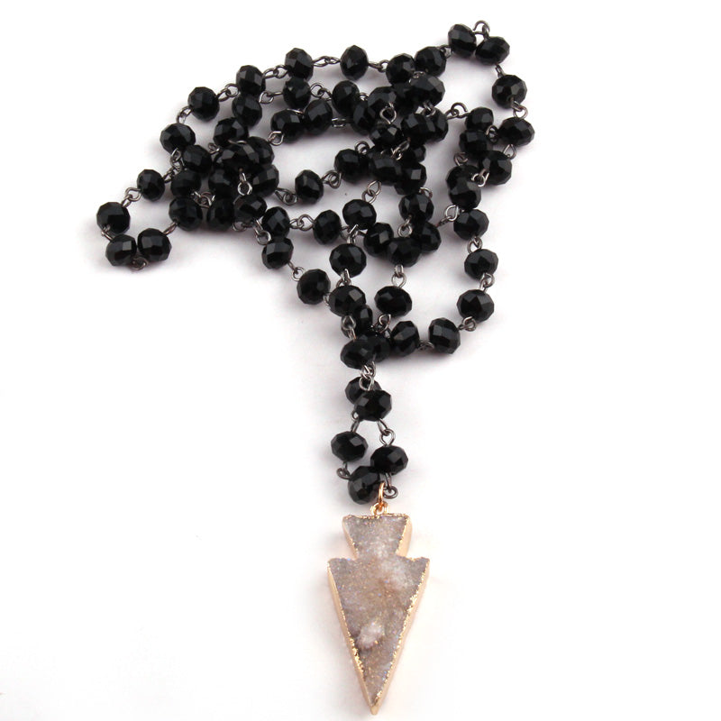 Mineral Arrowhead Raw Crystal Necklace Bohemian style Christmas Gift