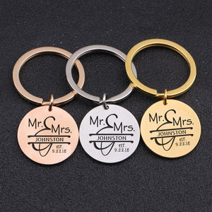 Mr and Mrs keychains personalized wedding gift bridal favors