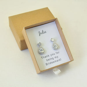 Beautiful Sparkling Silver Cz Stud Earrings For Your Bridesmaids