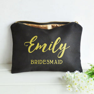Personalized Name Makeup Bag Cosmetic Case Wedding Bridal Party Bridesmaid Best Gift for women