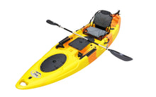 BKC UH-RA220 11-Foot 6-inch  Angler Sit On Top Fishing Kayak with 2pc Paddles, 1-Upright Seat and Rudder System Included