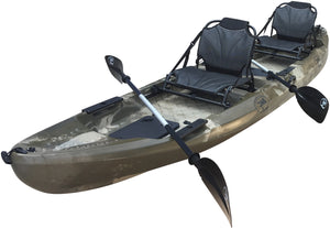 BKC UH TK29 13 Foot 1 Inch Tandem 2 Person Sit On Top Fishing Kayak With Up Right Seats And Paddles Included