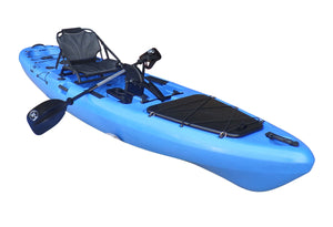 BKC UH-PK13 Pedal Drive Solo Traveler 13-Foot Kayak - Pedal Propeller Drive Single-Person Sit On Top Fishing Kayak with Pedal Drive, Rudder System, Paddle, and Seat Included