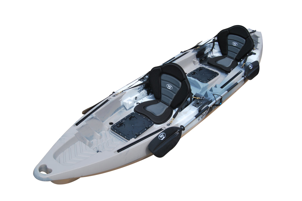 BKC UH-TK122-PS223 Coastal Cruiser 12.9-Foot Tandem 2-3 Person Fishing Kayak -with 2 Universal Kayak Sit in Deluxe Fully Padded Seat and Backrest and Paddles Included