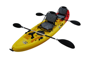 BKC UH-TK219-US 12-foot 2-inch Tandem Sit On Top Kayak 2-3 person, 2-Paddles, 2-Upright Seats and 6 Fishing Rod Holders included