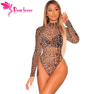 Dear Lover Leopard Bodysuit  Women Sexy Bodycon Skinny Body Suit Turtleneck Long Sleeve Playsuit Printed Romper Jumpsuits C32378