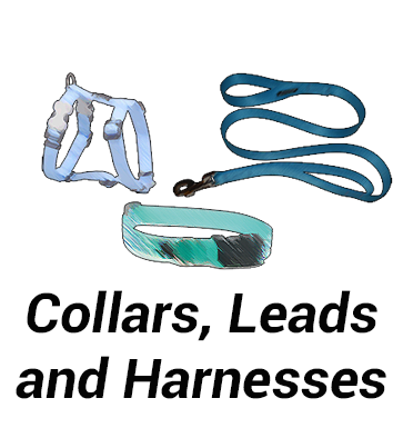 Collars, Leads and Harnesses.
