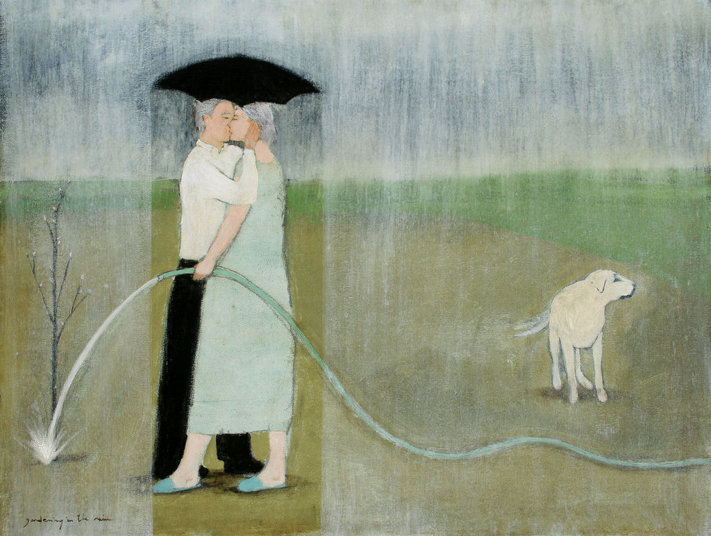 Limited edition giclee print of an original oil painting Gardening in the Rain III by contemporary artist Brian Kershisnik.Signed limited edition print. A man and woman kiss under a black umbrella in the rain. She is wearing a light turquoise dress and he is wearing a white shirt and black pants. She has a hose in hand and is watering a small tree with a white lab nearby against a blue sky and green background.